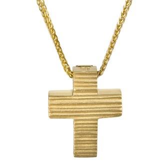 Χρυσό σταυρουδάκι Κ14 ματ ανάγλυφο 026770C 026770C Χρυσός 14 Καράτια