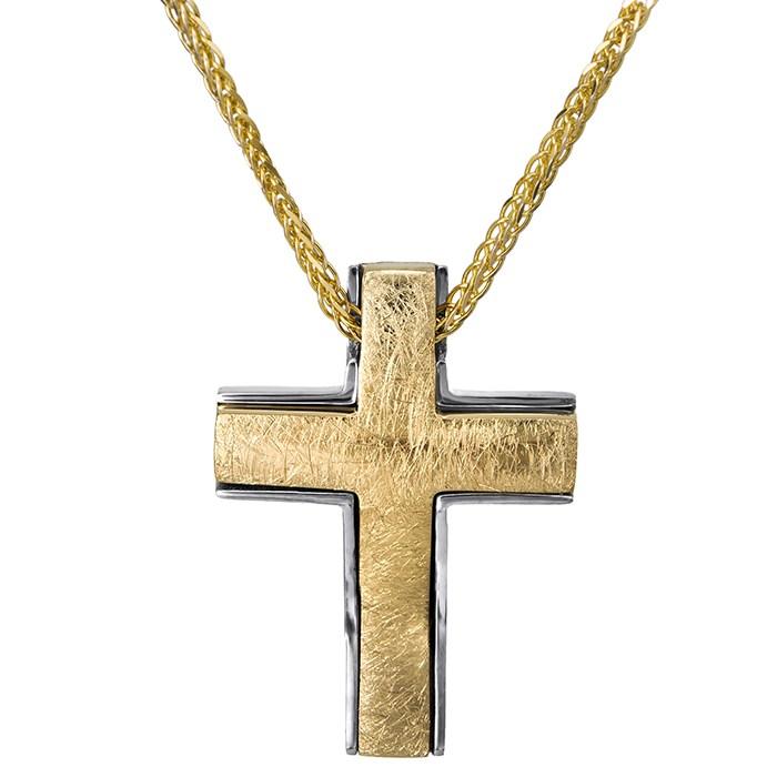 Δίχρωμο σταυρουδάκι Κ14 ματ 026771C 026771C Χρυσός 14 Καράτια