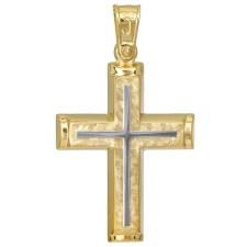 Σταυροί Βάπτισης - Αρραβώνα Βαπτιστικός σταυρός 14Κ διπλής όψεως 027061 027061 Ανδρικό Χρυσός 14 Καράτια