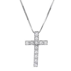 Λευκόχρυσος σταυρός με διαμάντια 18Κ 028327C 028327C Χρυσός 18 Καράτια