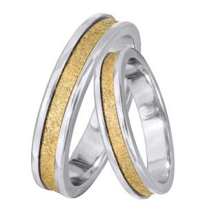 Δίχρωμες βέρες γάμου Κ14 028466 028466 Χρυσός 14 Καράτια