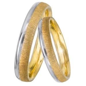 Βέρες γάμου Κ14 σε διχρωμία 028467 028467 Χρυσός 14 Καράτια