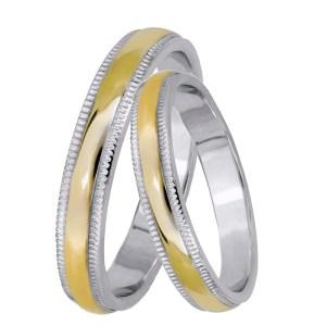 Βέρες γάμου δίχρωμες Κ14 028468 028468 Χρυσός 14 Καράτια