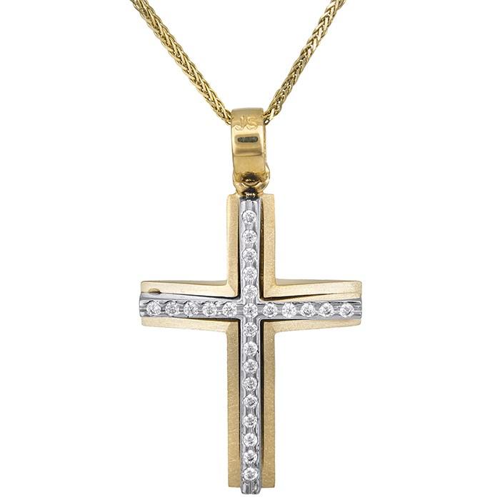 Βαπτιστικοί Σταυροί με Αλυσίδα Δίχρωμος σταυρός βάπτισης Κ14 με αλυσίδα για κορίτσι 028555C 028555C Γυναικείο Χρυσός 14 Καράτια