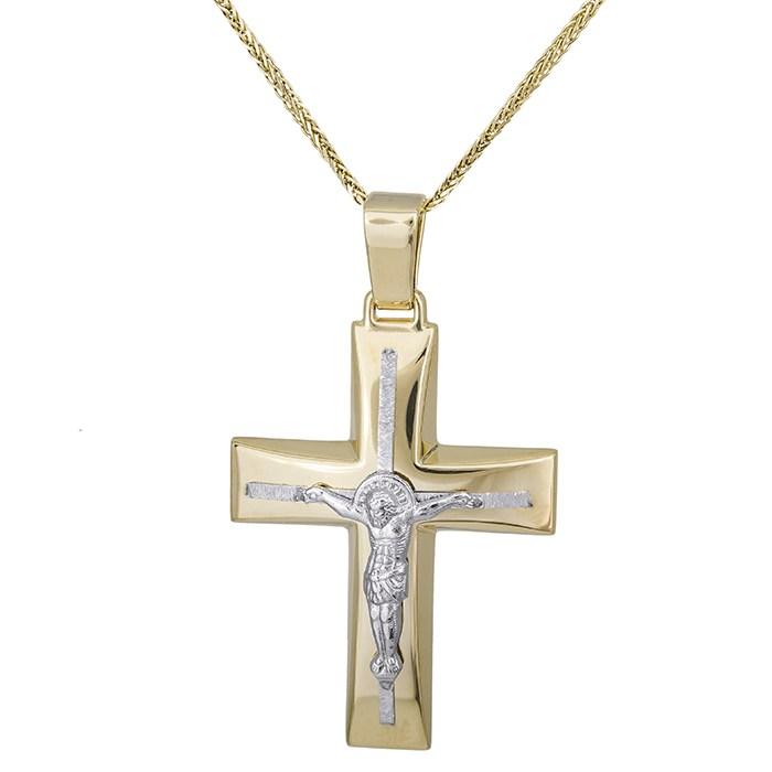Βαπτιστικοί Σταυροί με Αλυσίδα Δίχρωμος αντρικός σταυρός Κ14 με αλυσίδα 028623C 028623C Ανδρικό Χρυσός 14 Καράτια