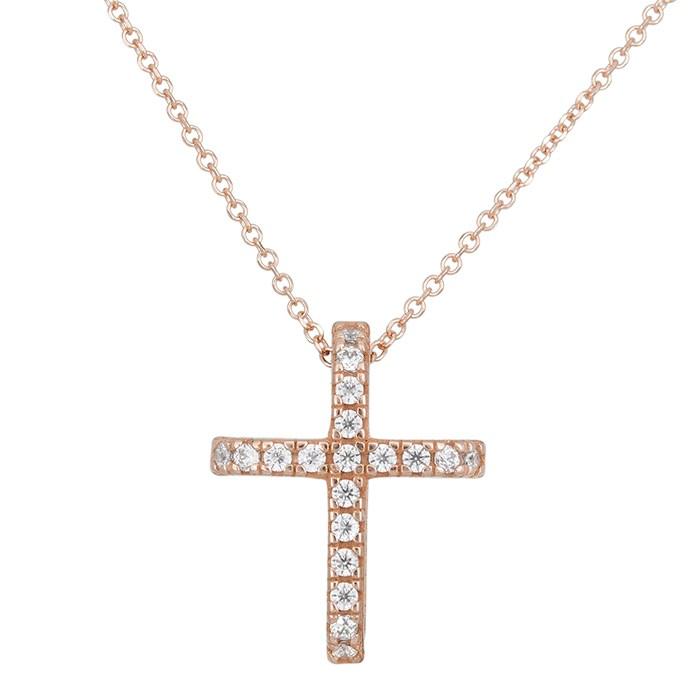 Γυναικείο σταυρουδάκι Κ14 ροζ gold 028901 028901 Χρυσός 14 Καράτια