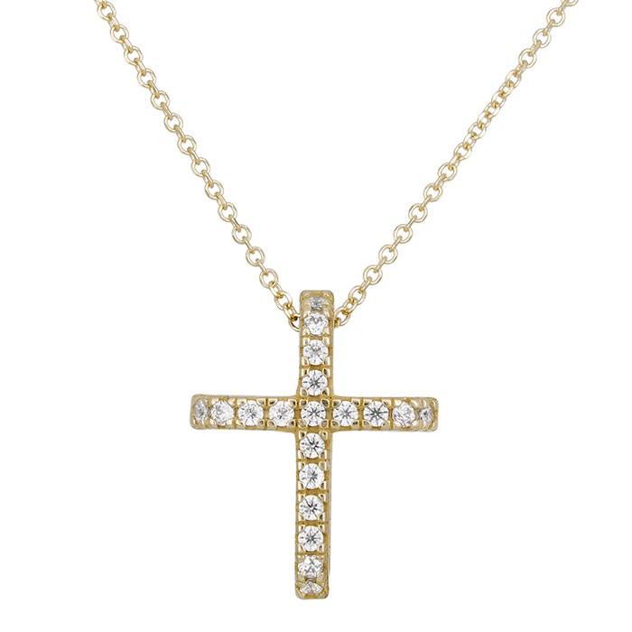 Χρυσό σταυρουδάκι Κ14 ολόπετρο με ζιργκόν 028902 028902 Χρυσός 14 Καράτια