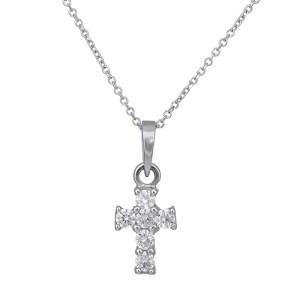 Γυναικείο κολιέ Κ14 λευκόχρυσο σταυρουδάκι με ζιργκόν 028977 028977 Χρυσός 14 Καράτια