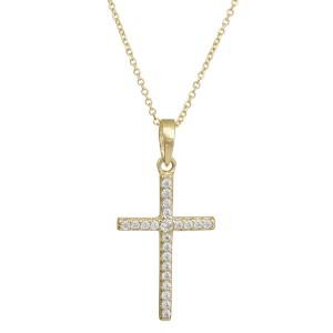 Χρυσό κολιέ Κ14 με πετράτο σταυρουδάκι 028983 028983 Χρυσός 14 Καράτια