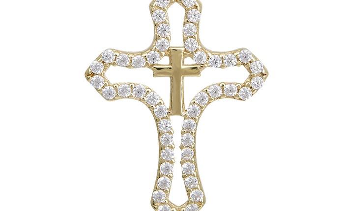 Χρυσό σταυρουδάκι Κ14 με ζιργκόν 028985 028985 Χρυσός 14 Καράτια