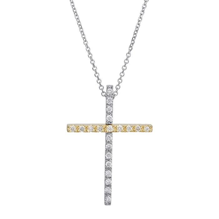Βαπτιστικοί Σταυροί με Αλυσίδα Δίχρωμος γυναικείος σταυρός με διαμάντια Κ18 029135 029135 Γυναικείο Χρυσός 18 Καράτια