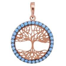 Ροζ gold κρεμαστό Κ14 το δέντρο της ζωής με μπλε πέτρες 029323 029323 Χρυσός 14 Καράτια