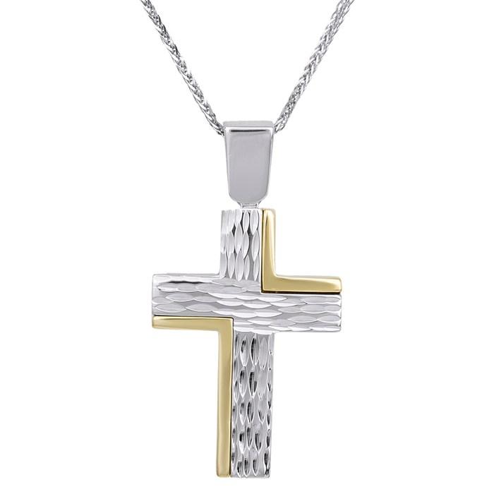 Βαπτιστικοί Σταυροί με Αλυσίδα Δίχρωμος σταυρός με αλυσίδα Κ14 σκαλιστός 029509C 029509C Ανδρικό Χρυσός 14 Καράτια