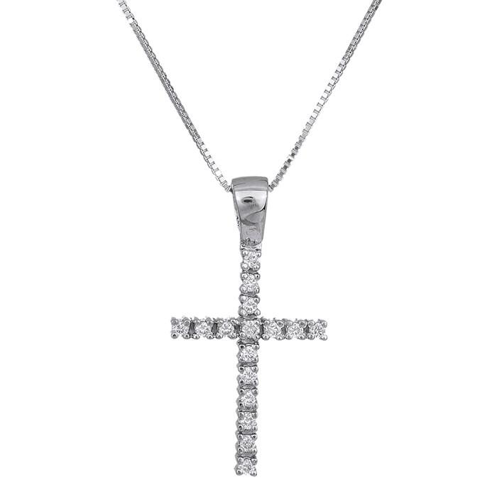 Βαπτιστικοί Σταυροί με Αλυσίδα Λευκόχρυσος σταυρός με μπριγιάν Κ18 029537C 029537C Γυναικείο Χρυσός 18 Καράτια
