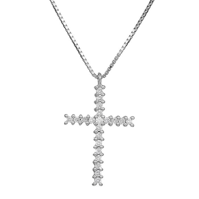 Βαπτιστικοί Σταυροί με Αλυσίδα Λευκόχρυσος σταυρός με μπριγιάν Κ18 029551C 029551C Γυναικείο Χρυσός 18 Καράτια