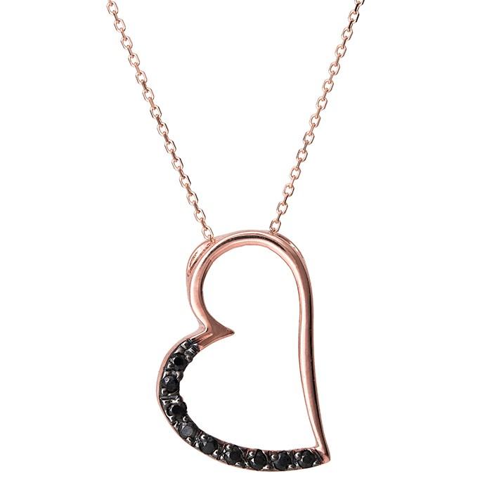 Γυναικείο κολιέ Κ14 ροζ gold καρδιά με μαύρες ζιργκόν 029802 029802 Χρυσός 14 Καράτια