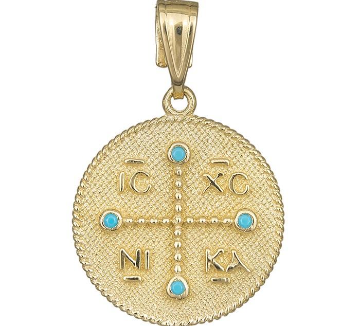 Στρόγγυλο χρυσό φυλακτό Κ14 με τυρκουάζ πέτρες 029873 029873 Χρυσός 14 Καράτια