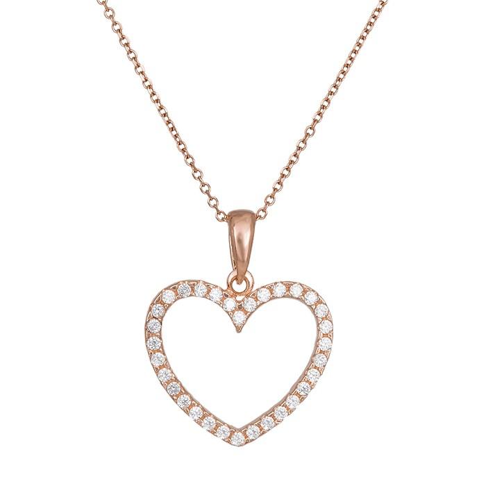Ροζ gold κολιέ Κ14 με ολόπετρη καρδιά 029999 029999 Χρυσός 14 Καράτια