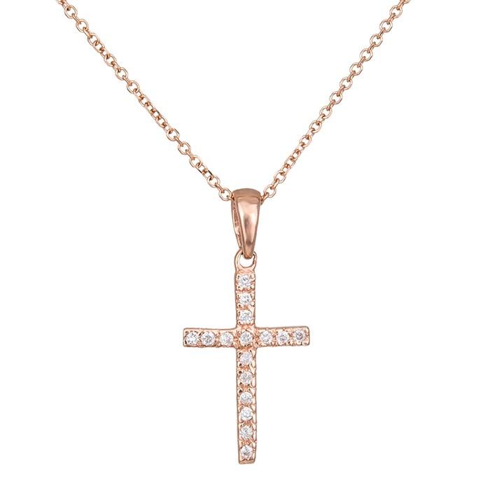 Σταυρός ροζ gold με αλυσίδα Κ18 με μπριγιάν 030033 030033 Χρυσός 18 Καράτια
