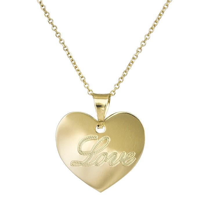 Χρυσό κολιέ Κ14 καρδιά love 030266 030266 Χρυσός 14 Καράτια