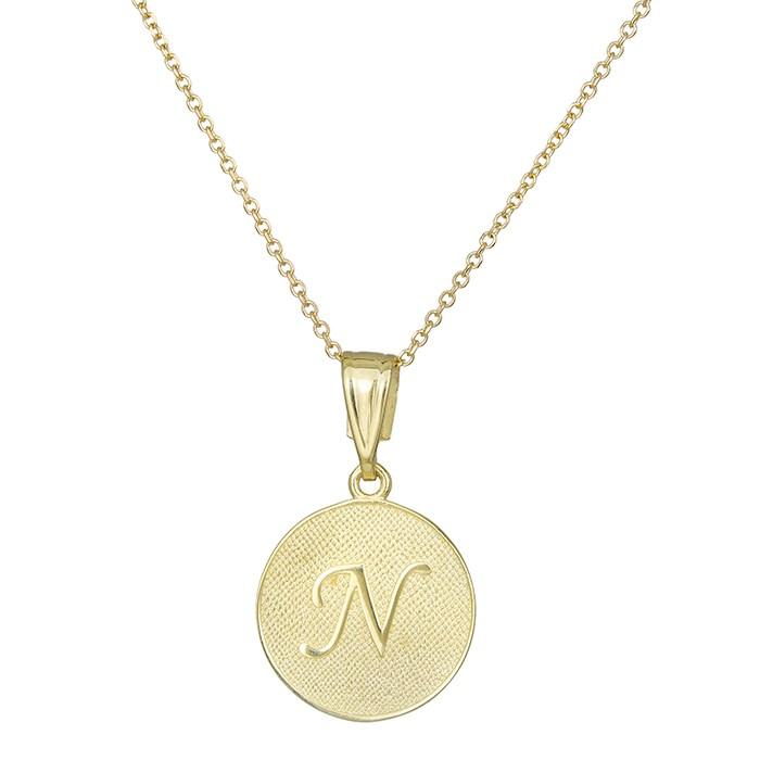 Κόσμημα λαιμού Κ9 με μονόγραμμα Ν 030438 030438 Χρυσός 9 Καράτια