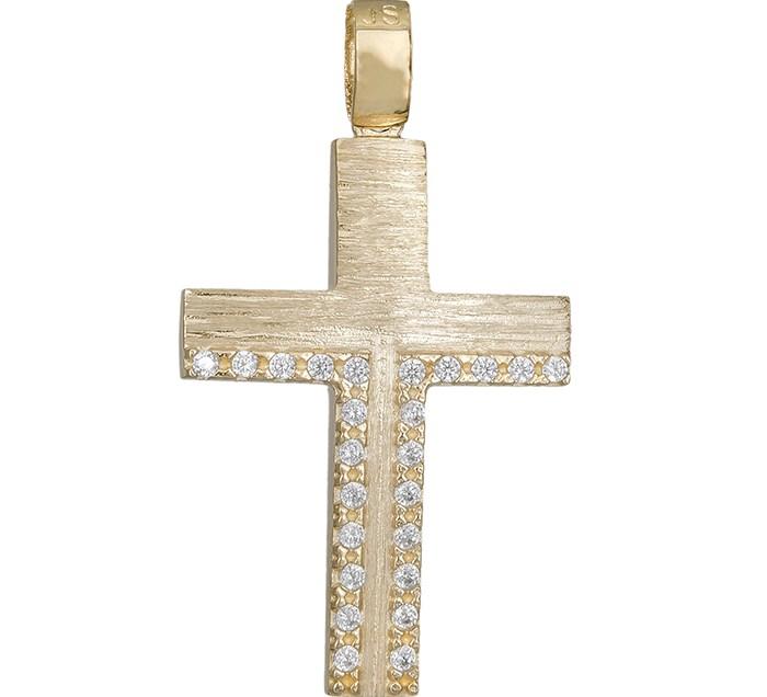 Σταυροί Βάπτισης - Αρραβώνα Γυναικείος σταυρός Κ14 ματ με ζιργκόν 030723 030723 Γυναικείο Χρυσός 14 Καράτια