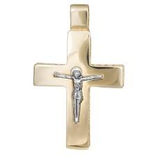 Σταυροί Βάπτισης - Αρραβώνα Δίχρωμος σταυρός διπλής όψης Κ14 με τον Εσταυρωμένο 030776 030776 Ανδρικό Χρυσός 14 Καράτια