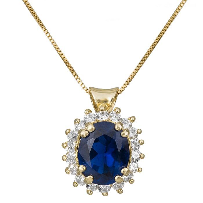Χρυσό κολιέ Κ14 οβάλ ροζέτα με μπλε πέτρα 030809 030809 Χρυσός 14 Καράτια