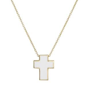 Χρυσό κολιέ Κ14 με λευκό σταυρουδάκι 030859 030859 Χρυσός 14 Καράτια