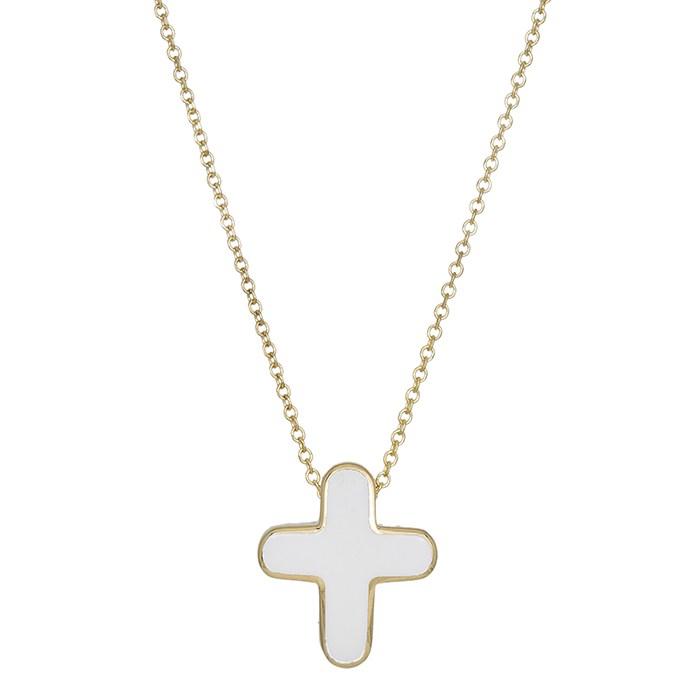 Κολιέ χρυσό Κ14 με λευκό σταυρουδάκι 030864 030864 Χρυσός 14 Καράτια