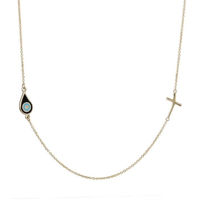 Γυναικείο κολιέ Κ9 με μαύρο ματάκι και σταυρουδάκι 031052 031052 Χρυσός 9 Καράτια