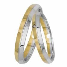 Βέρες γάμου δίχρωμες Κ14 με ζιργκόν 031408 031408 Χρυσός 14 Καράτια μεμονωμένο τεμάχιο
