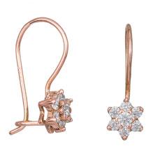 Ροζ gold σκουλαρίκια λουλούδι Κ14 031491 031491 Χρυσός 14 Καράτια