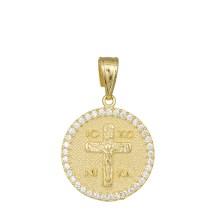 Φυλακτό Κ14 με τον Εσταυρωμένο και πέτρες ζιργκόν 031993 031993 Χρυσός 14 Καράτια