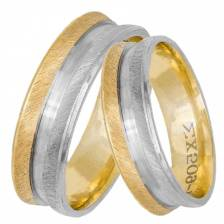 Δίχρωμες βέρες ματ ζαγρέ λούκι Κ14 033057 033057 Χρυσός 14 Καράτια μεμονωμένο τεμάχιο