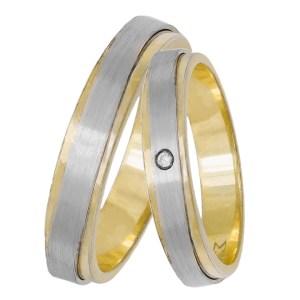 Βέρες γάμου δίχρωμες Κ14 με ζιργκόν 033058 033058 Χρυσός 14 Καράτια μεμονωμένο τεμάχιο