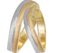 Δίχρωμες κυματιστές βέρες γάμου Κ14 033065 033065 Χρυσός 14 Καράτια μεμονωμένο τεμάχιο
