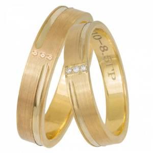 Χρυσές ματ βέρες Κ14 με ζιργκόν 033070 033070 Χρυσός 14 Καράτια μεμονωμένο τεμάχιο