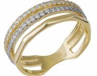 Τρίβερο δαχτυλίδι χρυσό Κ14 με ζιργκόν 033873 033873 Χρυσός 14 Καράτια