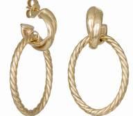 Γυναικεία κρεμαστά σκουλαρίκια Κ14 Gold Rope 034636 034636 Χρυσός 14 Καράτια