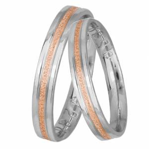 Δίχρωμες βέρες γάμου σε λευκόχρυσο και ροζ gold Κ14 034734 034734 Χρυσός 14 Καράτια μεμονωμένο τεμάχιο