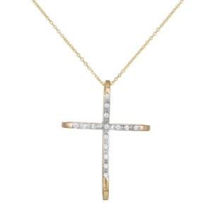 Γυναικείο χρυσό κολιέ Κ14 σταυρός σε φιογκάκι 035167 035167 Χρυσός 14 Καράτια