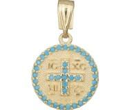 Χειροποίητο κρεμαστό διπλής όψης Κ9 με τυρκουάζ ζιργκόν 035596 035596 Χρυσός 9 Καράτια
