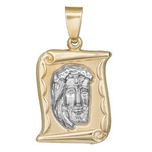 Κρεμαστό φυλαχτό διπλής όψης σε παπυράκι Κ9 με τον Χριστό 035625 035625 Χρυσός 9 Καράτια
