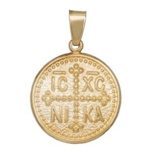 Κρεμαστό Κωνσταντινάτο διπλής όψης Κ9 σε χρυσό και μαύρο 035626 035626 Χρυσός 9 Καράτια