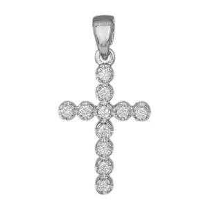 Λευκόχρυσος σταυρός με μπριγιάν 18 καρατίων 035923 035923 Χρυσός 18 Καράτια