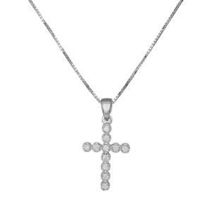 Γυναικείος λευκόχρυσος σταυρός Κ18 με διαμάντια μπριγιάν 035923C 035923C Χρυσός 18 Καράτια