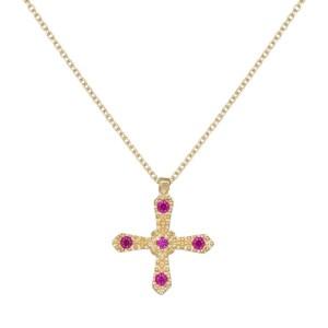 Γυναικείο ανάγλυφο σταυρουδάκι με ροζ ζιργκόν Κ14 036038 036038 Χρυσός 14 Καράτια