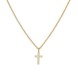 Επίχρυσο γυναικείο κολιέ 925 με πετράτο σταυρουδάκι 036215 036215 Ασήμι