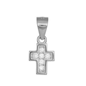 Γυναικείος σταυρός από ασήμι 925 με πέτρες 036217 036217 Ασήμι